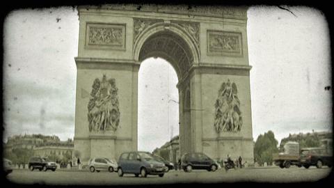Arc de Triumph 1. Vintage stylized video clip Footage
