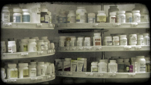 Pharmacy medications. Vintage stylized video clip Footage