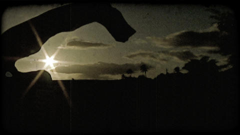 Twilight in Hawaii. Vintage stylized video clip Footage