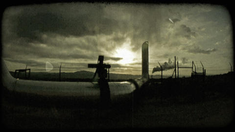 Factory at dusk. Vintage stylized video clip Live Action