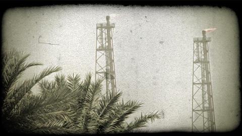 Kuwait oil refinery 1. Vintage stylized video clip Live Action