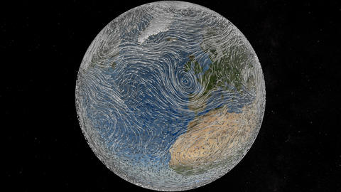 Planet Earth spinning isolated with a representation of winds. Elements of this Videos animados
