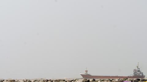 Empty cargo ship cruising Footage