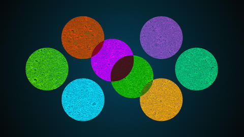 Multiple shape circles, mixing of different colors, searchlight effect, 3d Live Action