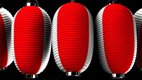 Red and white paper lantern on black background CG動画