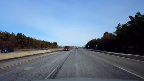 Driving Highway in Daytime. Driver Point of View POV of Interstate or Motorway Footage