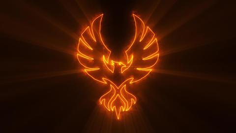 Orange Burning Phoenix with Light Rays Logo Loop Graphic Element Animation
