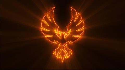 Orange Burning Phoenix Logo with Reveal Effect and Light Rays Animation