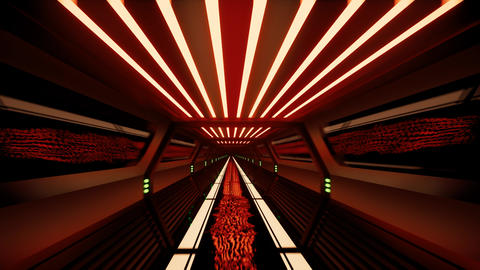 Movement inside a neon metal tunnel Footage