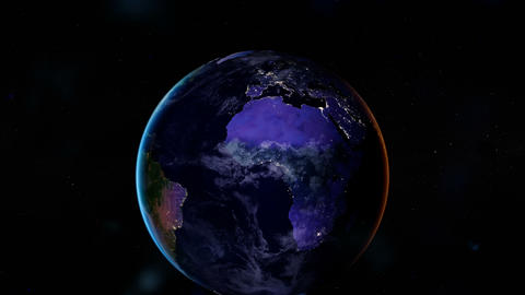 Night side of the Earth with city lights. Europe, Africa and Middle East. Zoom Animation
