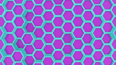 Motion design of geometric hexagon surface loop. Grid pattern of waving Footage