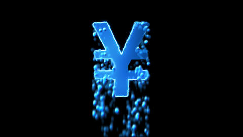 Liquid symbol yen sign appears with water droplets. Then dissolves with drops of Animation