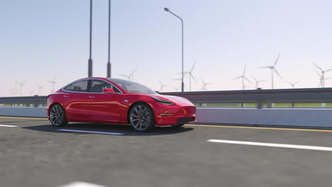 3d animation of an electric Tesla model 3 driving on highway Animation