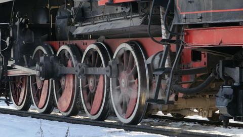 Steam locomotive smokes hot steam Live Action