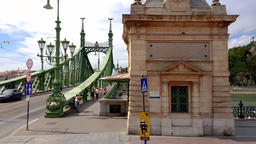 Liberty Bridge 4K footige from public transport in Budapest, Hungary Footage