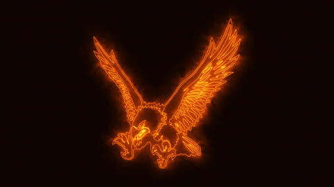 Orange Burning Eagle Animated Logo Loopable Graphic Element Animation