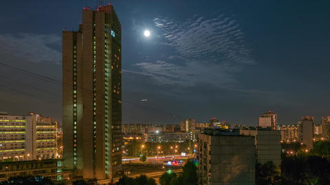 Night City With Moon and Clouds Motion 영상물