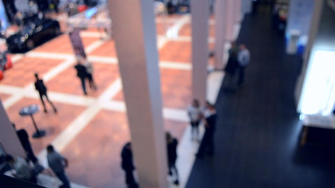 Blurred View of People. People in a large modern hall. Blurred Background Live Action