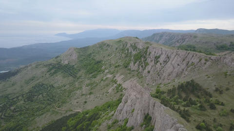 Aerial view of Crimean Mountains, rocks and forests.... Stock Video Footage