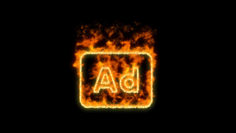 Ad - Advertisement symbol inflames. Then disappears. In - Out loop. Alpha CG動画素材