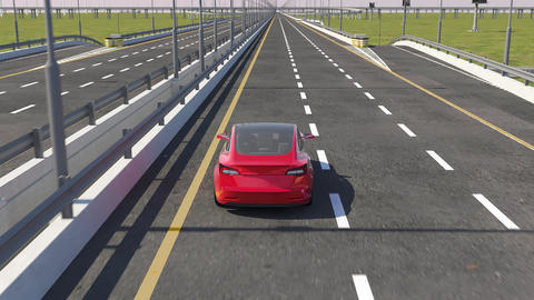3d animation of an electric car driving on highway Footage