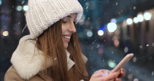 Outdoor Standing Girl Texting Message on Smartphone Live Action
