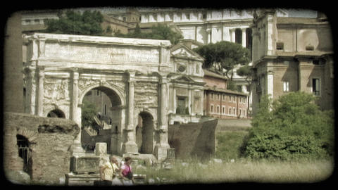 Rome Ruins 2. Vintage stylized video clip Footage