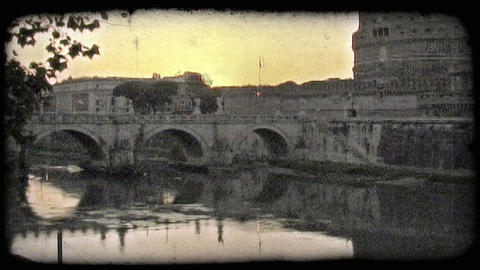 Roman Skyline 1. Vintage stylized video clip Footage