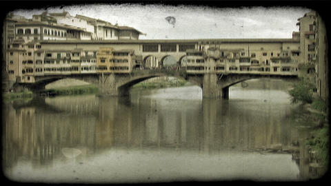 Italian Bridge 3. Vintage stylized video clip Footage