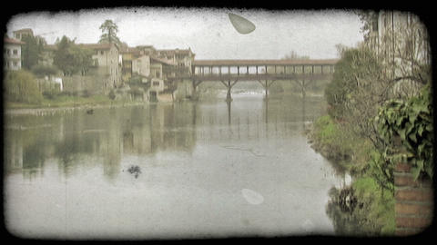 Covered Bridge 3. Vintage stylized video clip Footage