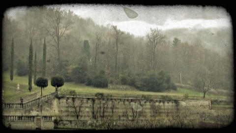 Foggy mountains. Vintage stylized video clip Footage