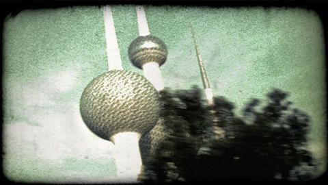 Kuwaitee towers. Vintage stylized video clip Footage