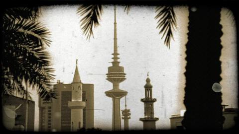 Kuwaitee sky scrapers. Vintage stylized video clip Footage