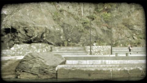 Oceanside Walkway 2. Vintage stylized video clip Footage