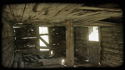 Inside of old cabin. Vintage stylized video clip Live Action