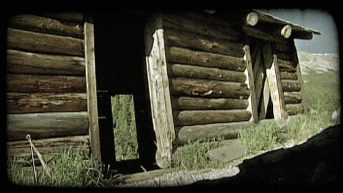 Old log cabin. Vintage stylized video clip Live Action