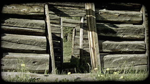 Log cabin in mountains. Vintage stylized video clip ライブ動画