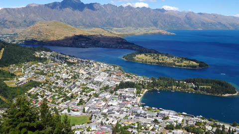 Scenic view of Queenstown, New Zealand Live Action