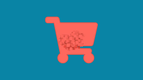 Behind the squares appears the symbol shopping cart. In -… Stock Video Footage