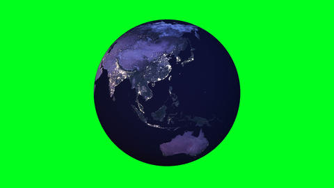Night side of the planet Earth with city lights with chroma green screen. Animation