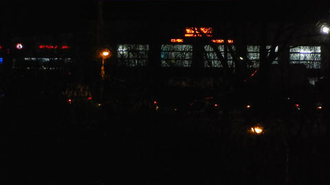 Panorama of the night city cars are moving Footage