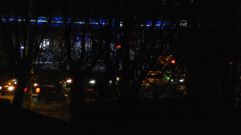 Panorama of the night city cars are moving 영상물