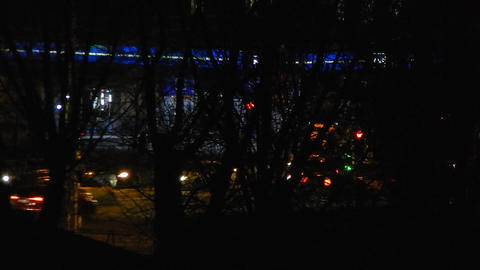Panorama of the night city cars are moving, Live Action