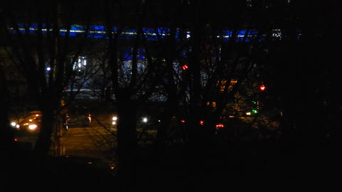 Panorama of the night city cars are moving Stock Video Footage