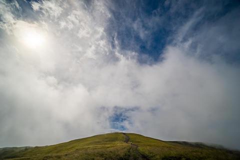 Landscape of Borzhava ridge of the Ukrainian Carpathian Mountains. Clouds above Photo