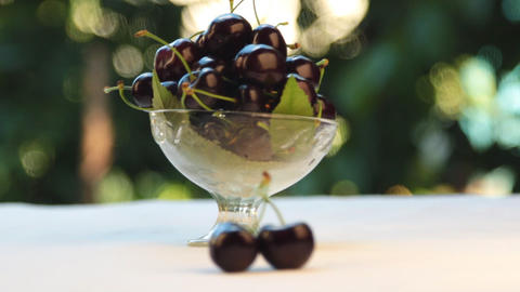 Selective focus from cherry to vase. Sweet cherry in a glass vase, fruit in a Footage