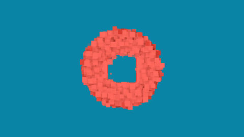 Behind the squares appears the symbol stop circle. In - Out. Alpha channel Animation