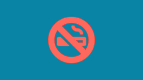 Behind the squares appears the symbol smoking ban. In - Out. Alpha channel Animation