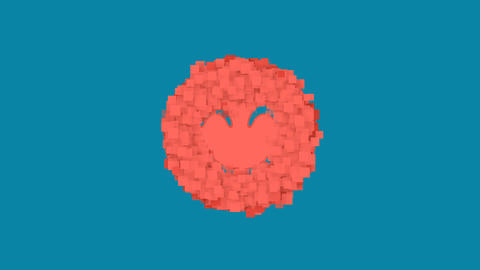 Behind the squares appears the symbol smile beam. In - Out. Alpha channel Animation