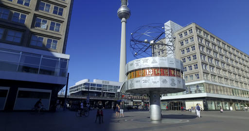 Berlin, Germany. Circa May 2018. People visiting World clock and TV Tower in Footage